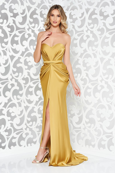 Ana Radu mustard dress with push-up bra luxurious from satin fabric texture off shoulder accessorized with tied waistband