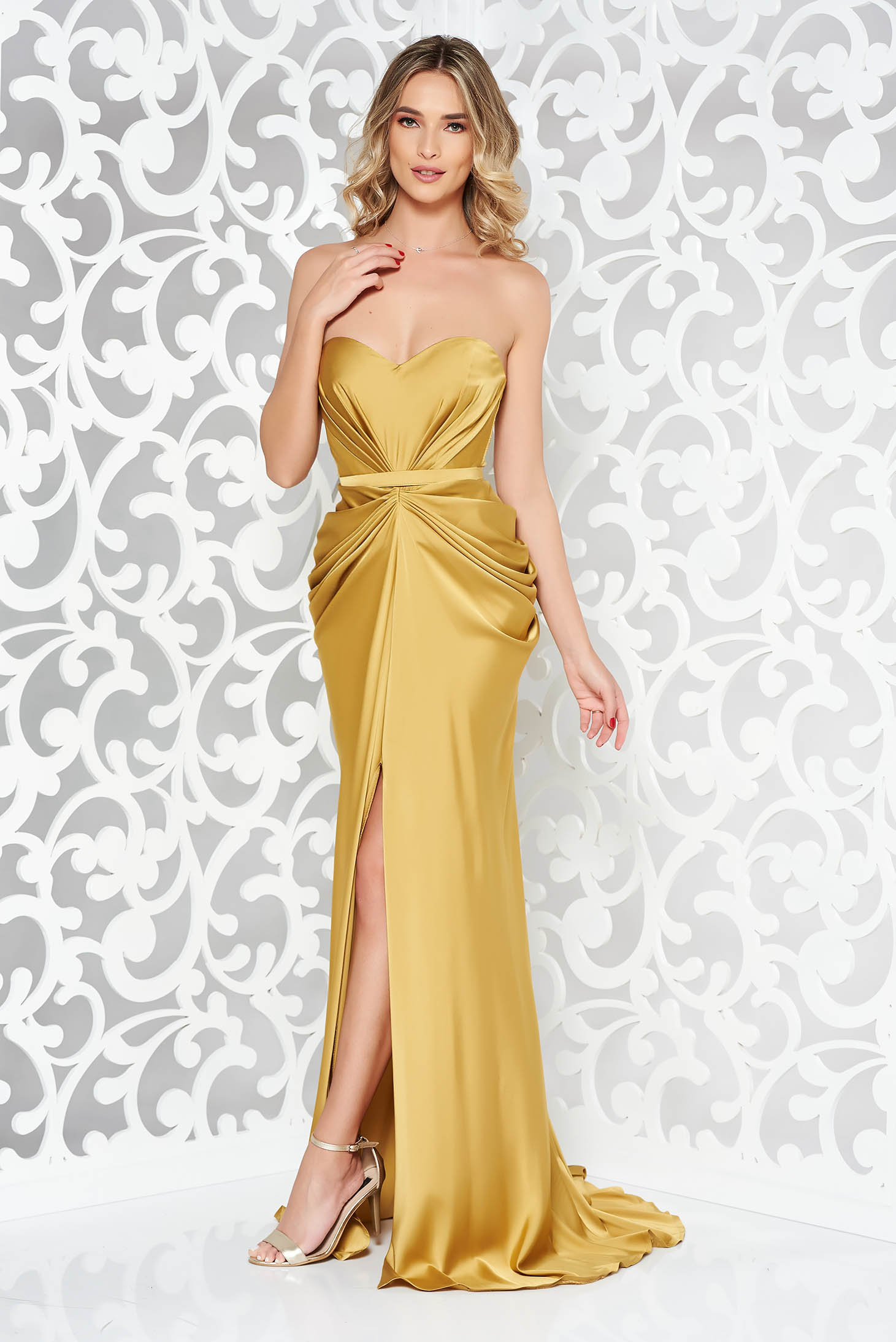 Ana Radu luxurious off shoulder dress from satin fabric texture with push-up bra accessorized with tied waistband mustard