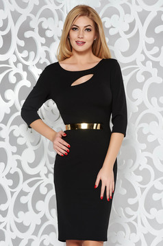 Black dress elegant pencil from elastic fabric cut-out bust design accessorized with tied waistband