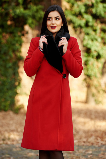 LaDonna red elegant wool coat arched cut fur collar