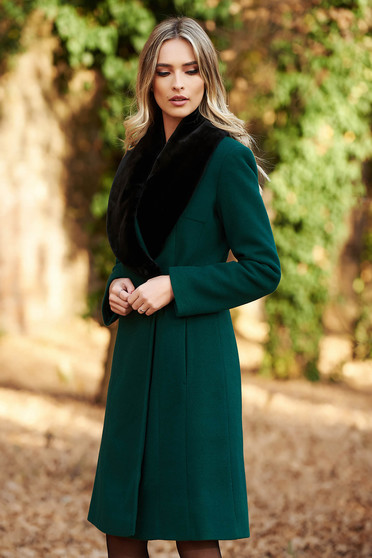 LaDonna darkgreen elegant wool coat arched cut fur collar