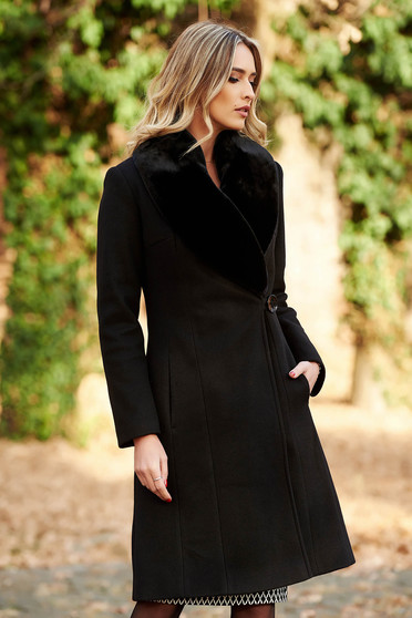 LaDonna black elegant wool coat arched cut fur collar