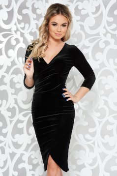 StarShinerS black occasional pencil dress from velvet with a cleavage