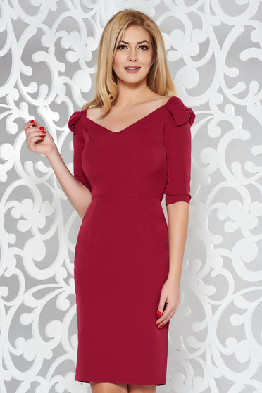 StarShinerS fuchsia elegant pencil dress slightly elastic fabric off shoulder 3/4 sleeve with bow accessories