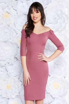 StarShinerS lila elegant pencil dress slightly elastic fabric off shoulder 3/4 sleeve with bow accessories