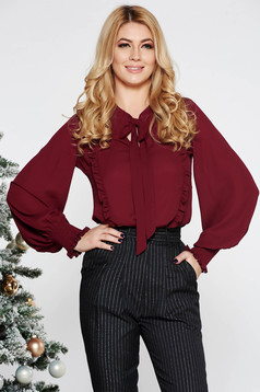 LaDonna burgundy elegant flared women`s blouse voile fabric with ruffle details elastic held sleeves