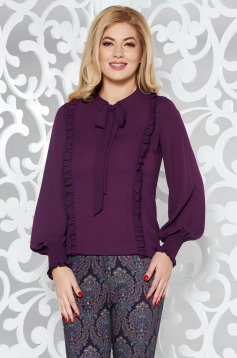 LaDonna purple elegant flared women`s blouse voile fabric with ruffle details elastic held sleeves