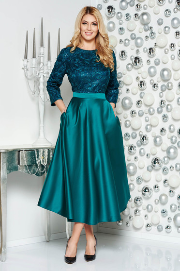 Green occasional long cloche dress from satin fabric texture from laced fabric with sequin embellished details