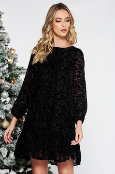 Black occasional flared dress from velvet fabric raised pattern with ruffles at the buttom of the dress