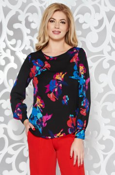 Black elegant flared women`s blouse long sleeve from veil fabric