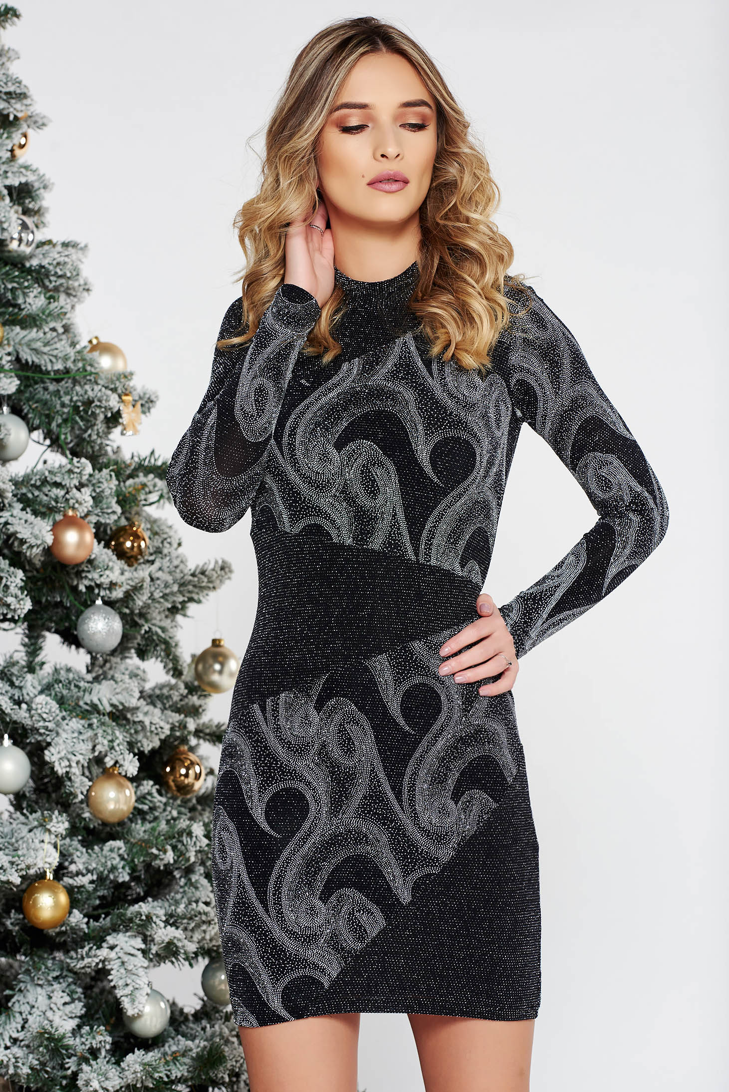 Silver occasional dress with tented cut shimmery metallic fabric long sleeve