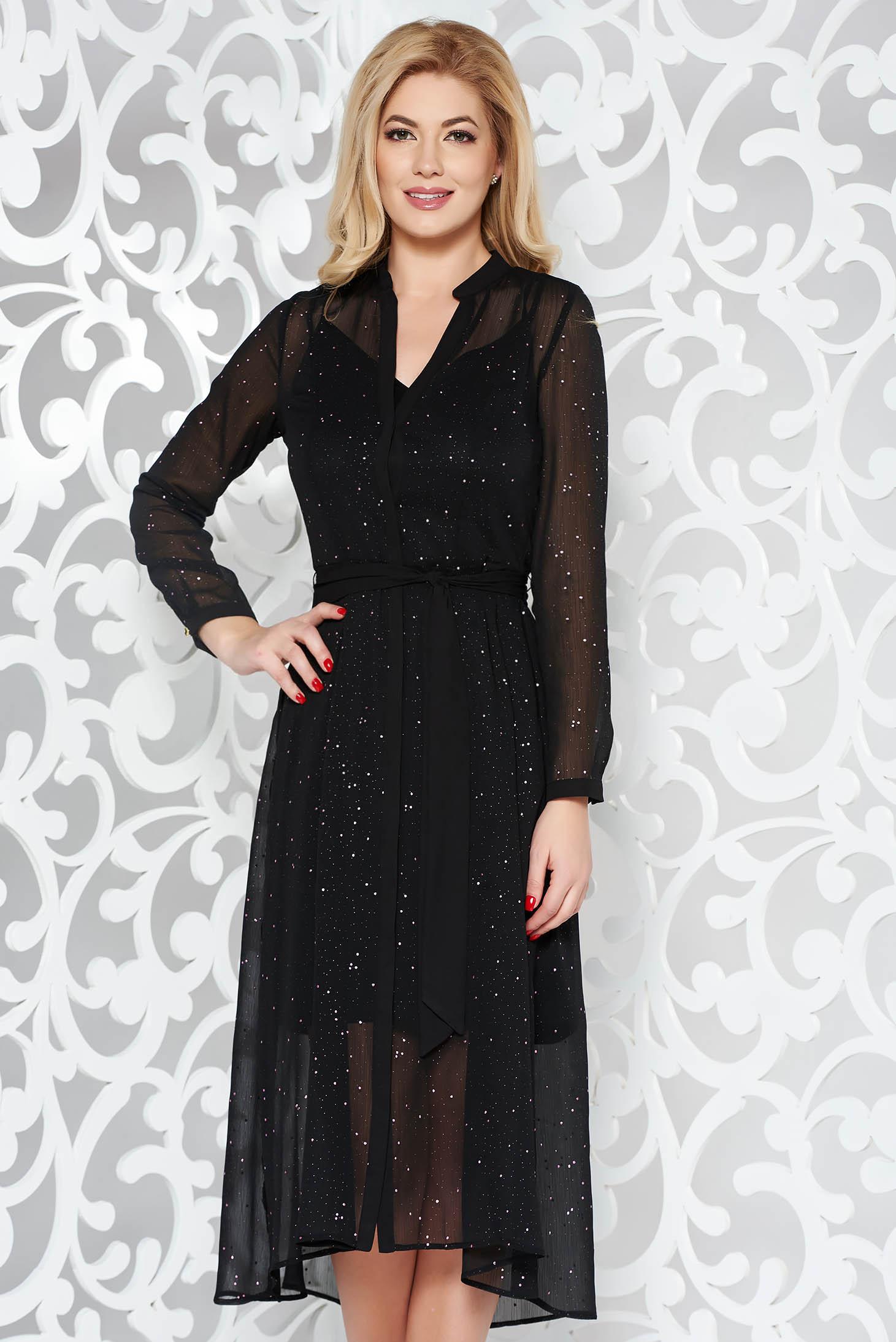 Fekete elegáns harang ruha áttetsző anyag csillogó kiegészítők övvel ellátva b2c4e1d2cf