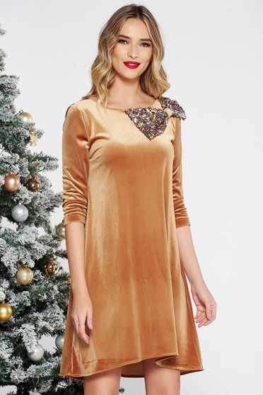 StarShinerS mustard occasional flared velvet dress bow accessory with sequins