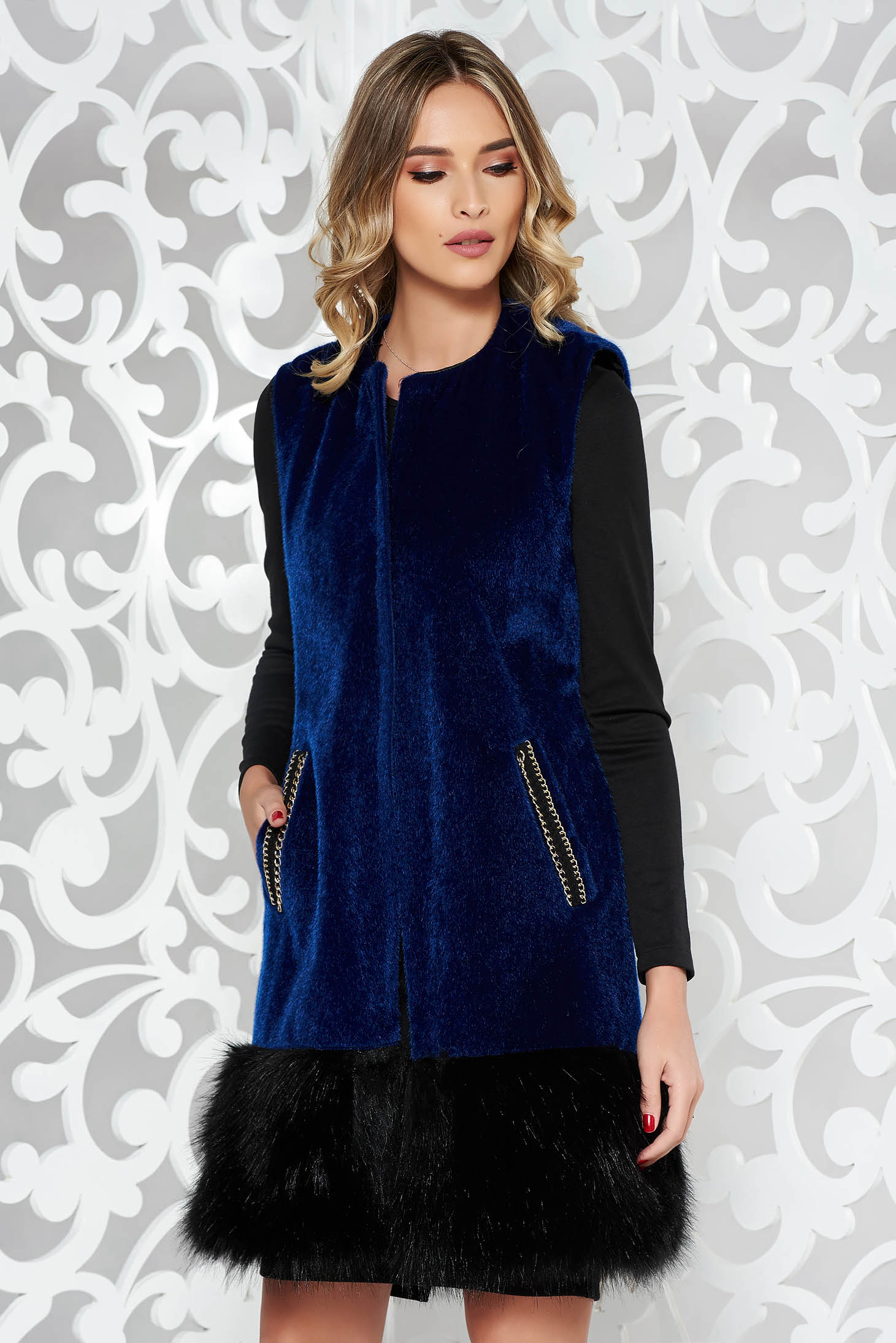 StarShinerS darkblue elegant gilet from ecological fur with inside lining with pockets
