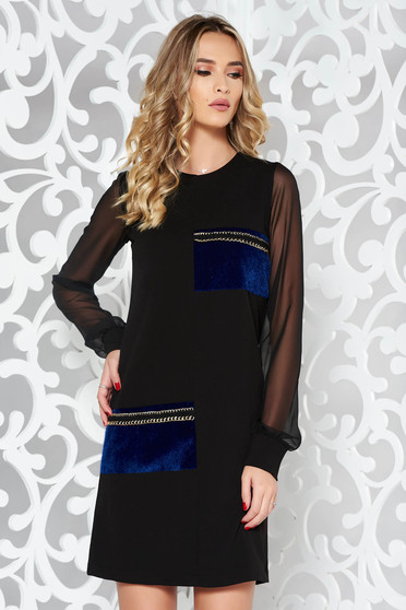 StarShinerS black clubbing a-line dress from non elastic fabric with faux fur details