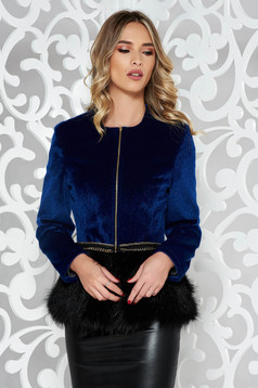 StarShinerS darkblue occasional ecological fur with inside lining metallic details
