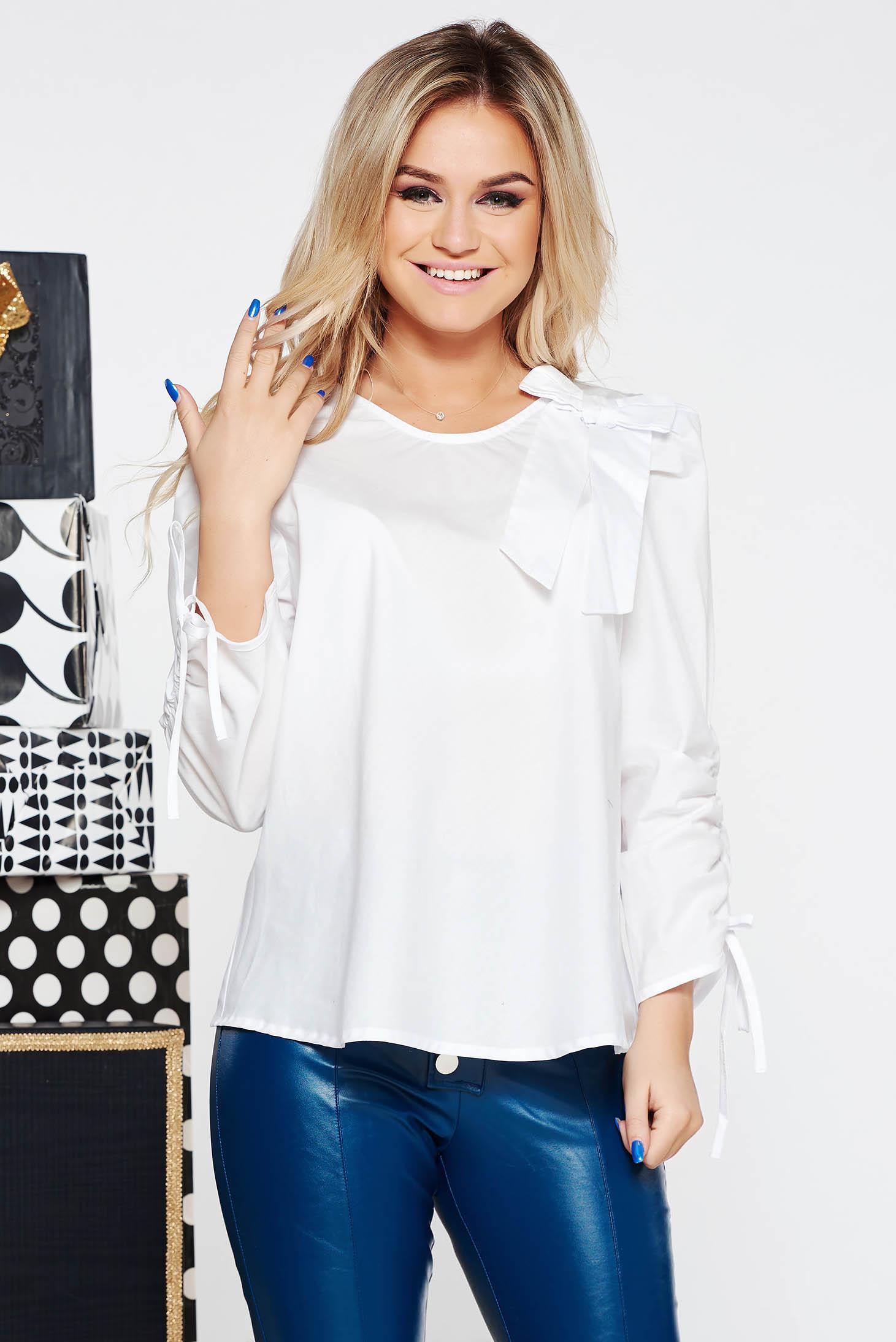 e188b61a06 Fehér StarShinerS casual bő szabású női blúz nem elasztikus pamut masni  díszítéssel