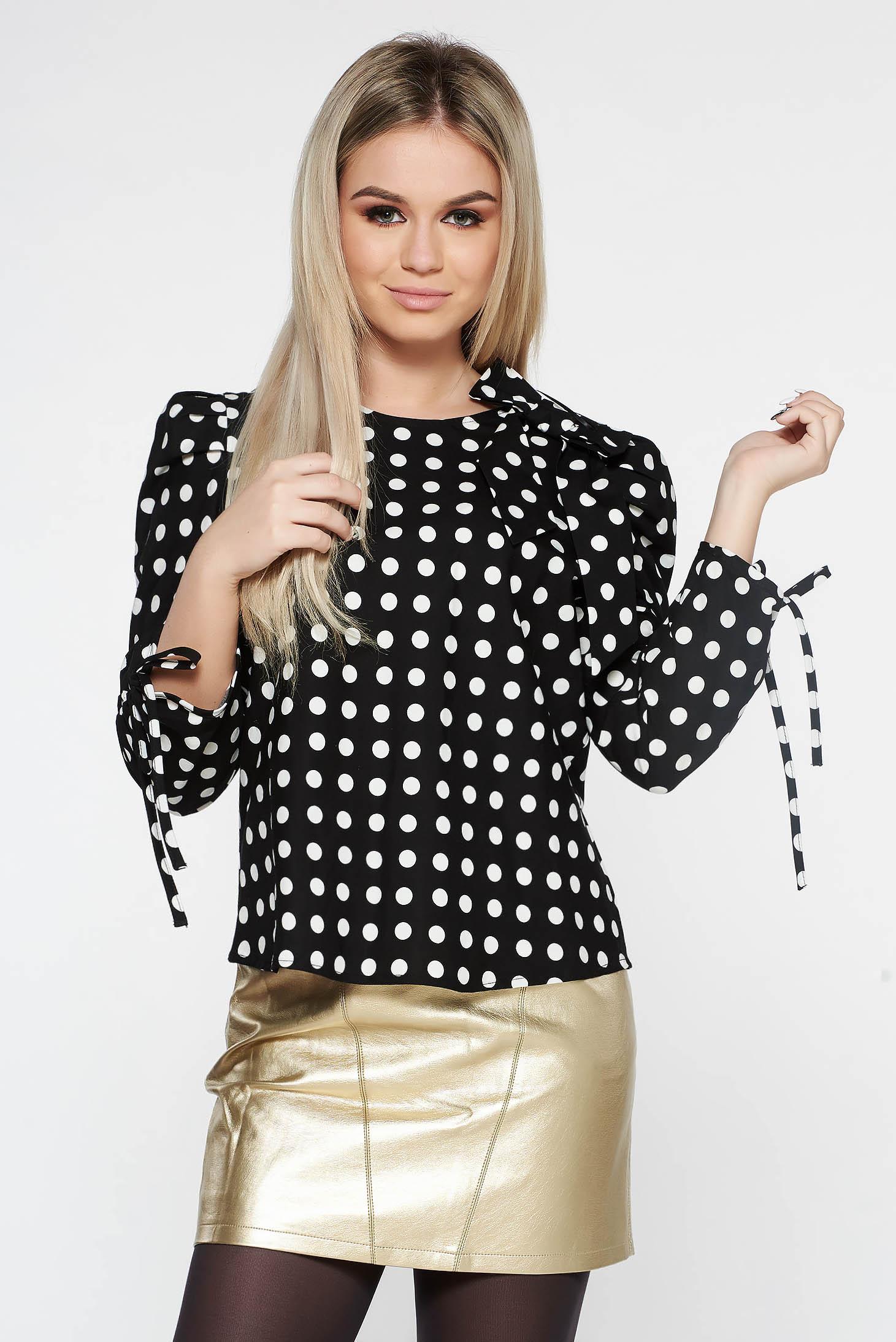 Bluza dama StarShinerS neagra casual cu croi larg din bumbac neelastic in carouri accesorizata cu o fundita