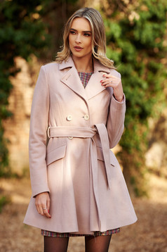 StarShinerS rosa coat casual cloche wool with inside lining with pockets accessorized with tied waistband