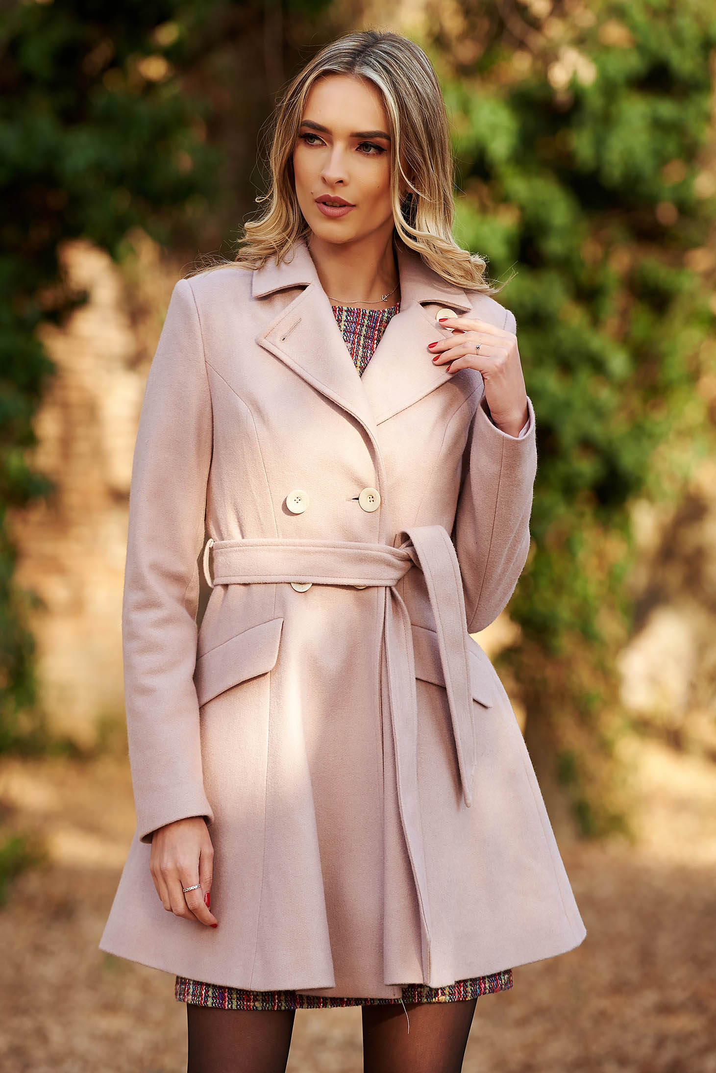 StarShinerS rosa casual wool cloche coat with inside lining with pockets accessorized with tied waistband