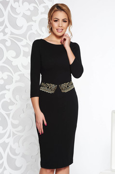 StarShinerS black elegant pencil dress slightly elastic fabric with frilled waist with embroidery details