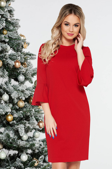 StarShinerS red office with easy cut dress with bell sleeve