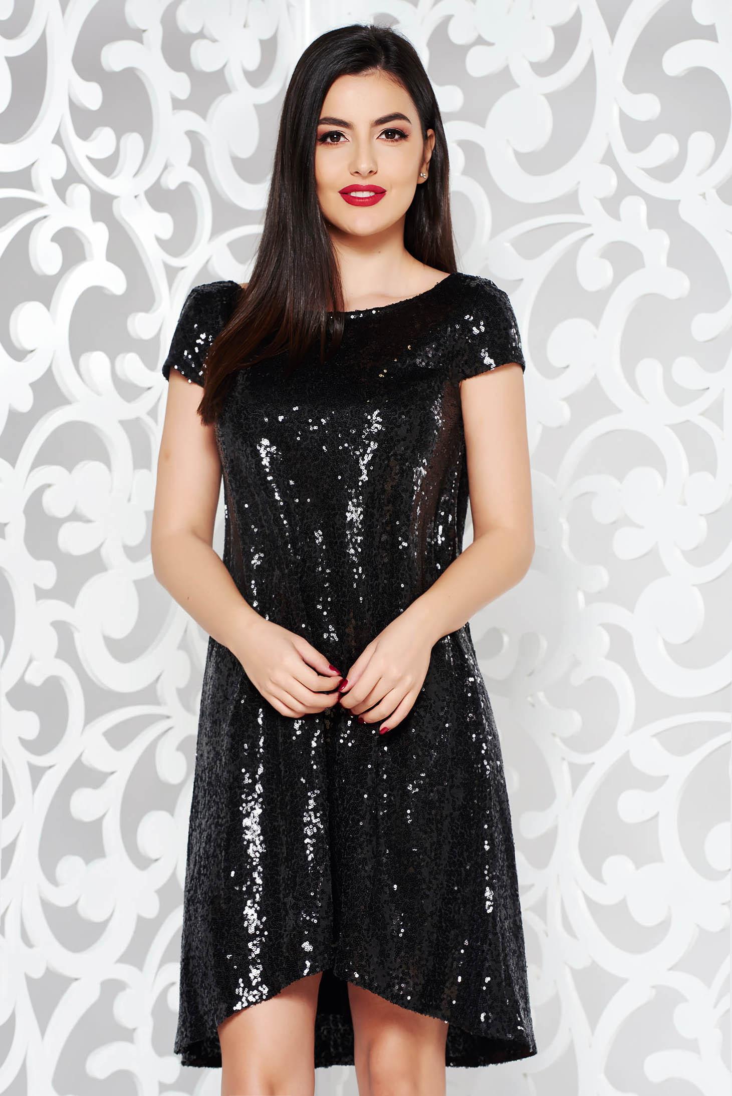 StarShinerS black occasional asymmetrical flared dress short sleeves