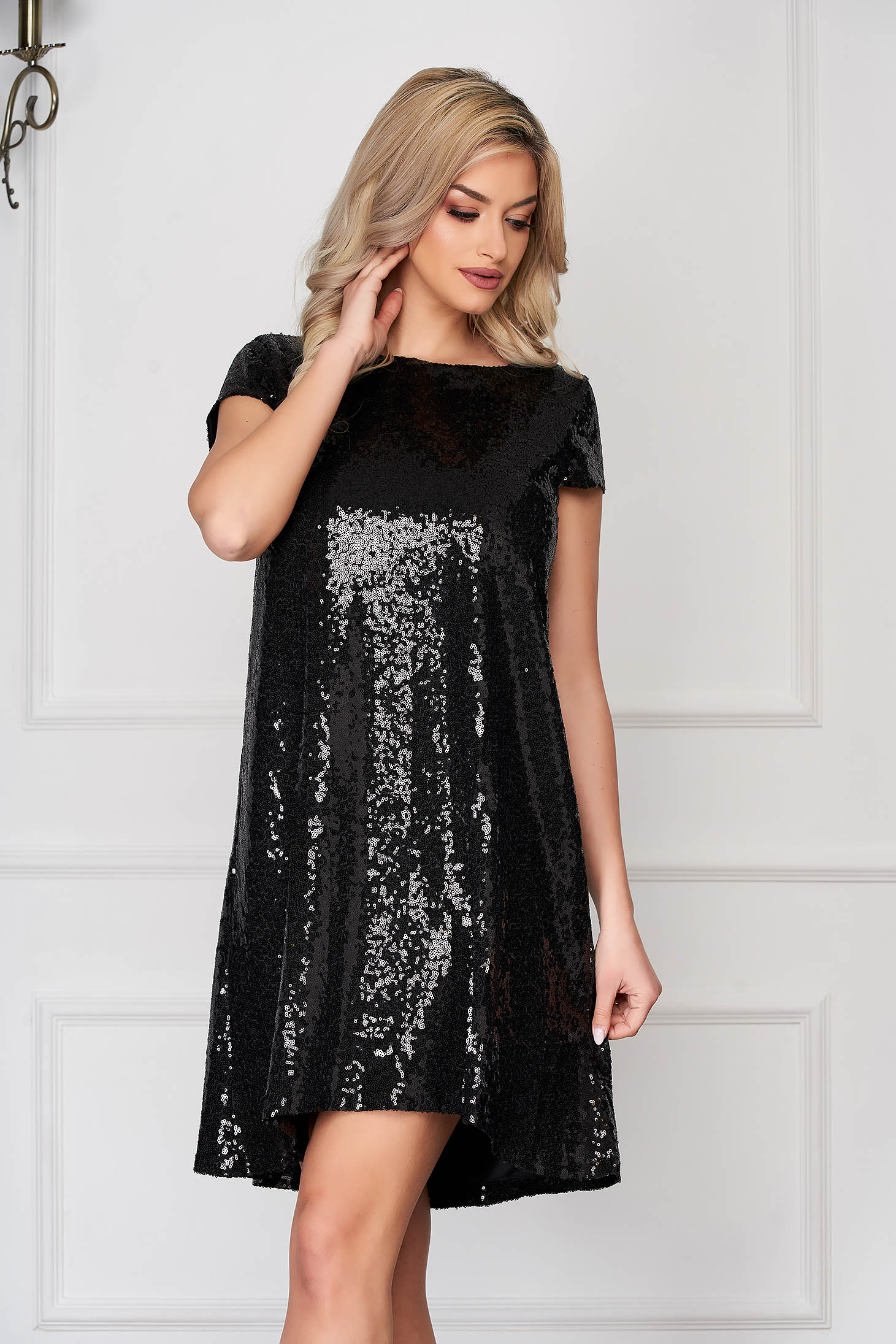 StarShinerS black occasional asymmetrical flared dress short sleeves