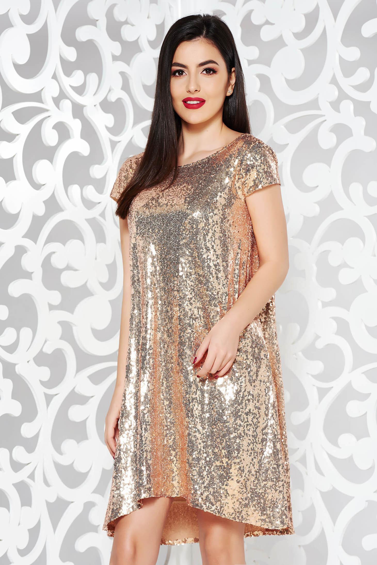 6c5c5e48c0 Arany StarShinerS alkalmi asszimmetrikus szabással bő szabású ruha rövid  ujjú