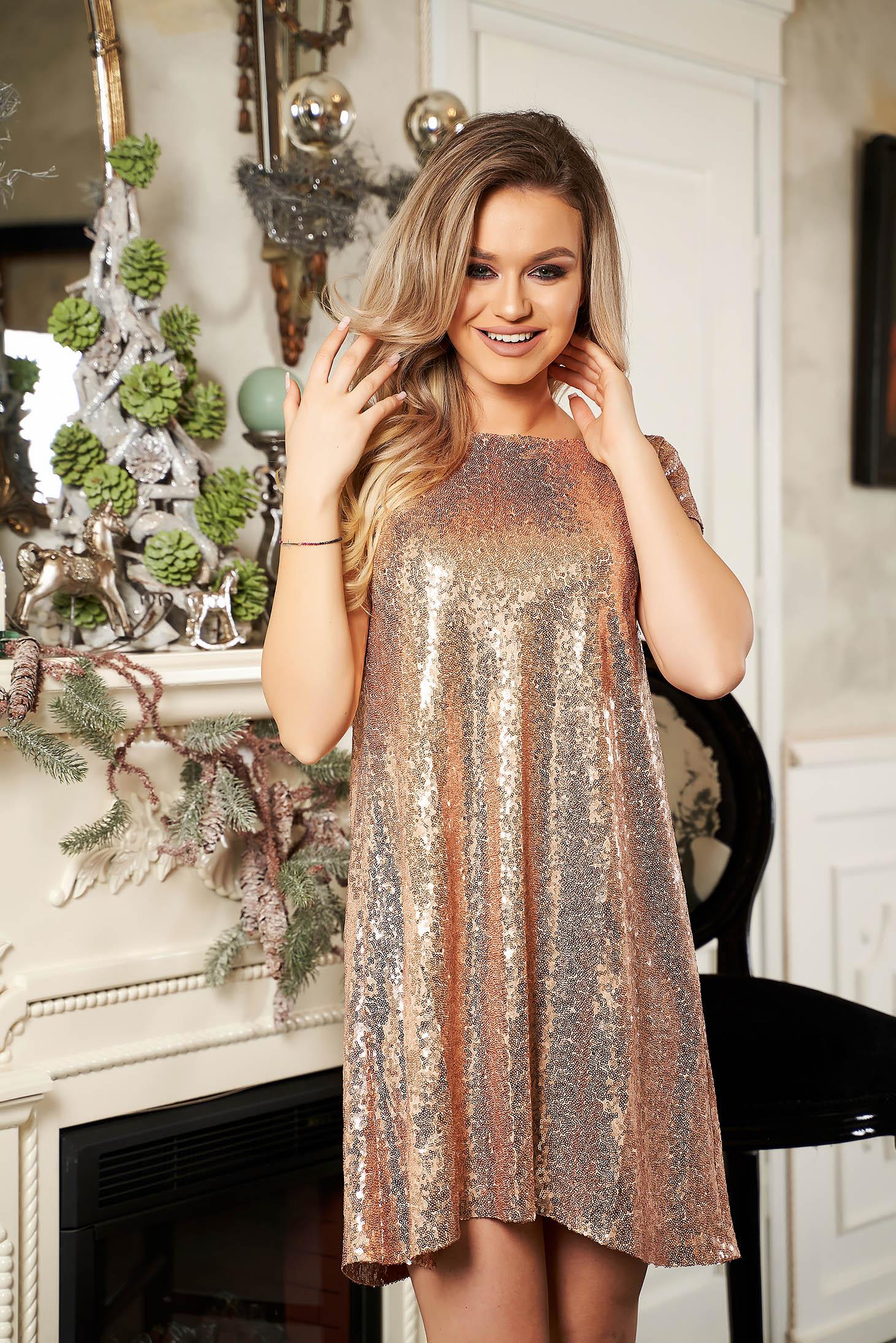 Arany StarShinerS alkalmi asszimmetrikus szabással bő szabású ruha rövid ujjú