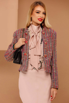 PrettyGirl coral elegant wool jacket with inside lining with straight cut with button accessories