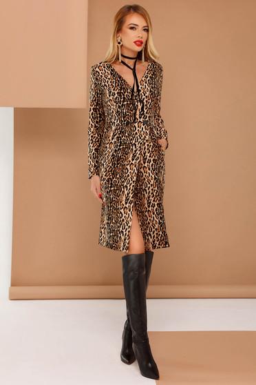 PrettyGirl brown dress clubbing blazer type non-flexible thin fabric with inside lining