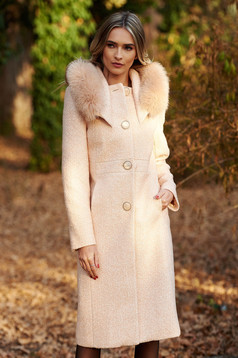 Cream elegant wool coat straight with inside lining with pockets fur collar