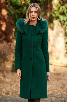 Green elegant wool coat straight with inside lining with pockets fur collar