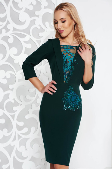 Green occasional pencil dress slightly elastic fabric with inside lining lace and sequins details