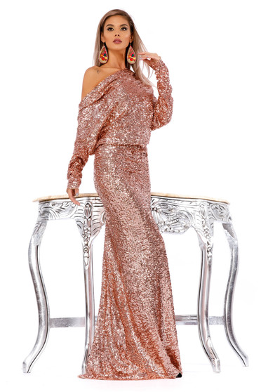 Lightpink occasional mermaid dress with sequins with cut back long sleeve