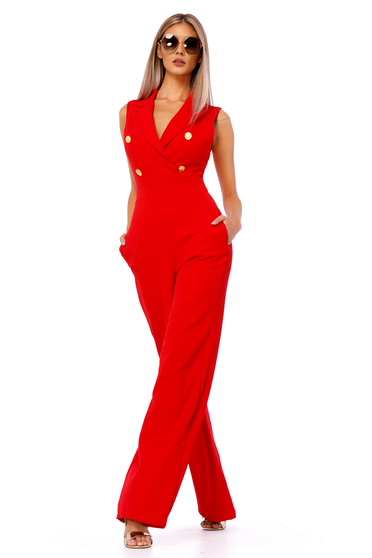 Ocassion red jumpsuit elegant flexible thin fabric/cloth with button accessories with tented cut