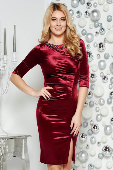 Burgundy occasional midi dress from velvet with small beads embellished details with tented cut