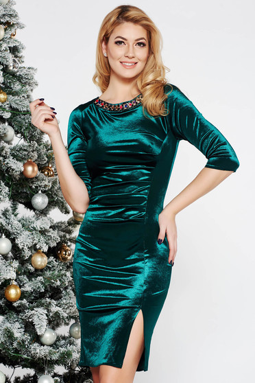Green occasional midi dress from velvet with small beads embellished details with tented cut