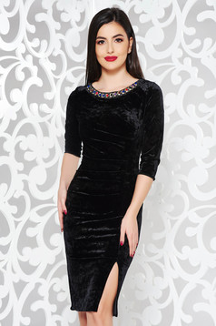 Black occasional midi dress from velvet with small beads embellished details with tented cut