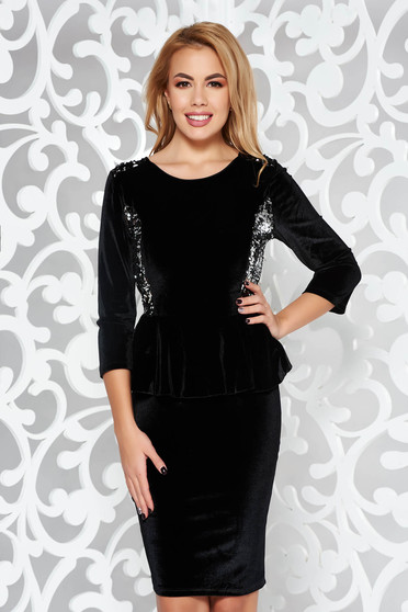 Black occasional from velvet pencil dress with sequin embellished details with frilled waist