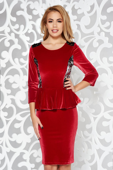 Burgundy dress occasional pencil from velvet with sequin embellished details with frilled waist