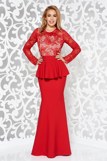 Red dress occasional mermaid slightly elastic fabric with inside lining with frilled waist from laced fabric