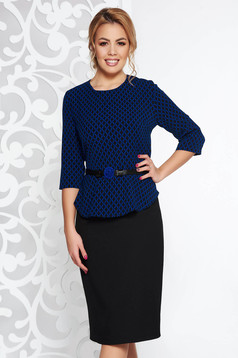 Darkblue elegant pencil dress frilled slightly elastic fabric accessorized with tied waistband