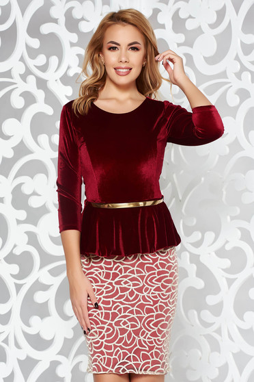 Burgundy occasional pencil velvet dress frilled from velvet accessorized with tied waistband