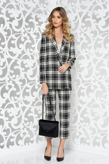 StarShinerS black office lady set soft plaid fabric with straight cut high waisted trousers