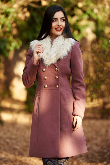 StarShinerS purple elegant wool coat with inside lining arched cut with pockets fur collar