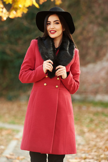 StarShinerS red elegant wool coat with inside lining arched cut with pockets fur collar