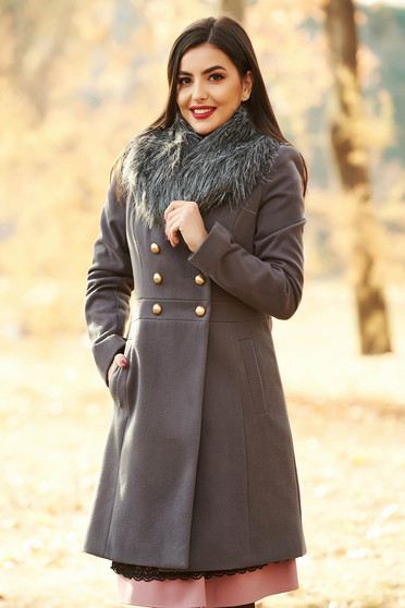StarShinerS darkgrey elegant wool coat with inside lining arched cut with pockets fur collar