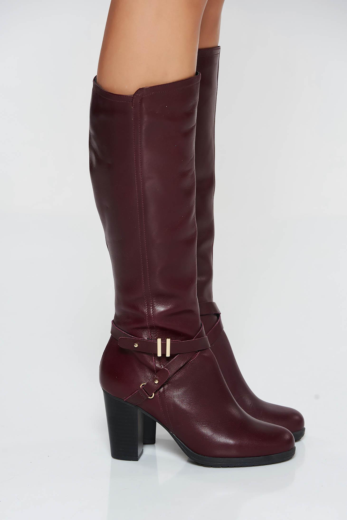 pantofi de alergat listă nouă frumos ieftin Cizme dama visinii office din piele naturala cu toc gros